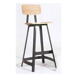 Ivar Bar Stool, American Walnut with Black Base, Set of 2