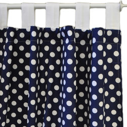 """New Arrivals - New Arrivals Curtain Panel Set Zig Zag Baby Navy - Reflecting the whimsy and joy of life, New Arrivals delivers fun and function to children and parents alike. A cute and contemporary style, Zig Zag Baby boasts a lively window treatment for the nursery or bedroom. This set of two curtain panels features Polka Dot in Navy fabric with white spots on midnight blue. White Pique tabs. Handmade in the USA from 100% cotton. Optional standard or blackout curtain lining is available for an additional cost. Each panel: 42""""W x 84""""L. Email shop@laylagrayce.com to order custom length (considered final sale)"""
