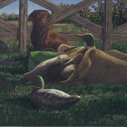 York Wallcoverings - Black  Brown Dog Duck Outdoor Wallpaper Border - Looking for a stylish wallpaper to complete your hunting lodge or cabin? The Prepasted Peelable-coated Brown Dog Duck Outdoor Wallpaper Border is sure to appeal to any outdoor man and enhance your rustic decor. A celebration of duck hunting and the beautiful environs in which it takes place, the scene shows faithful hunting dogs, waiting to head out for a day of scouting. Duck decoys are strewn on the ground and visible inside of bags, and various gear awaits the hunters who will use it. The scene is set on a lush green lawn, and there is a woodland landscape visible behind a wooden fence.