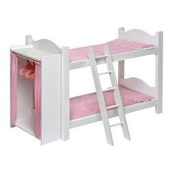 Doll Bunk Beds with Ladder and Storage Armoire - Girls can store two dolls on this cute bunk bed and tuck them in each night. It comes complete with the bedding, ladder, armoire and hangers. Fits dolls up to 20 inches tall.