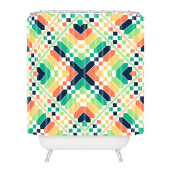 DENY Designs - Budi Kwan Retrographic Rainbow Shower Curtain - Who says bathrooms can't be fun? To get the most bang for your buck, start with an artistic, inventive shower curtain. We've got endless options that will really make your bathroom pop. Heck, your guests may start spending a little extra time in there because of it!