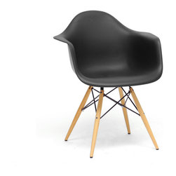 Baxton Studio - Baxton Studio Pascal Black Plastic Mid-Century Modern Shell Chair (Set of 2) - The retro simplicity of this classic black modern shell chair will instantly enhance the modernity of your room. Each of these mid-century modern dining chairs is made from durable molded plastic with an ergonomically-shaped and curved seat and armrests. The legs are wooden and include steel hardware in black as well as black plastic tips to protect sensitive flooring. To clean, wipe with a damp cloth.  This item is made in China and assembly is required.  This item is also available in black, red, or white arm chairs or side chairs (each sold separately). Dimensions: 24.25 inches wide x 17 inches deepx 31.25 inches height, seat height:18.25 inches
