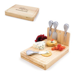 Picnic Time - Denver Broncos Asiago Folding Cutting Board With Tools in Natural Wood - The Asiago is a folding cutting board with tools that is another Picnic Time original design. This compact, fully-contained split-level cutting board is made of eco-friendly rubberwood. Lift up the top level of the board to reveal four brushed stainless steel cheese tools: a pointed-tipped cheese knife, cheese fork, cheese chisel knife, and blunt nosed hard cheese knife. The tools are magnetically secured to a wooden strip that lifts up so you can close the cutting board and display the tools. Designed with convenience in mind, the Asiago is great for home or anywhere the party takes you.; Decoration: Engraved; Includes: 4 brushed stainless steel cheese tools (1 pointed-tipped hard cheese knife, cheese fork, cheese chisel knife, and blunt nosed soft cheese knife