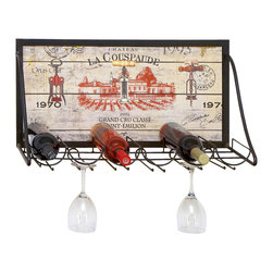 ecWorld - Urban Designs Chateau La Couspaude Metal Hanging Wine Rack - 6 Bottle Display - Display your wine collection in vintage style with this hanging wine rack. With hanging room for stemware and six tilted racks to keep corks wet, it is the easiest way to organize your fine collection.