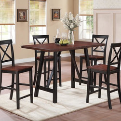 "5 PC Black Walnut Wood Counter Dining Set Table Chairs X Back 104501 - Function is fashion with the Makelim collection. The rectangular-shaped table carries a black and walnut finish with natural distressing .The chair has clean lines, with a distinctive ""X"" back, sleek square tapered legs. Create a natural appearance in your home with this beautiful counter height table set."