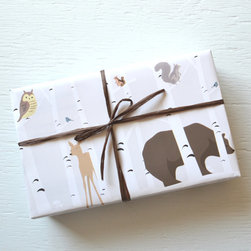 Forest Friends Wrapping Paper by Paper and Present - What could be cuter than this Forest Friends paper. It's perfect for the kiddos when you don't want super heroes under your perfectly decorated tree.