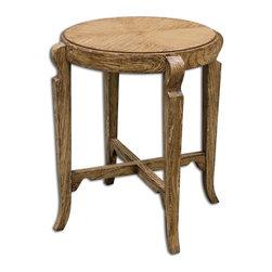 Matthew Williams - Matthew Williams Bandi Distressed Accent Table X-72652 - Mindi wood solids and mindi veneer with hand painted, distressed camel finish.
