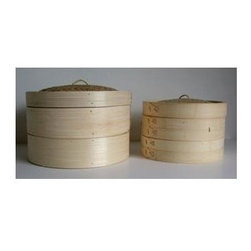 Taylor and Ng - Bamboo Steamer - Taylor & Ng (10 in.) - Choose Size: 10 in.Bamboo steamers for healthier cooking style. Bamboo steamer set includes two steam rack tiers and a cover. This fits perfectly inside the 12 in. woks for steaming. You can use any pot or pan as a base to hold the water for steaming. Two steam rack tiers. Use to cook, reheat or warm foods. Cleaning and care: Hand wash and air dry. 10 in. L x 10 in. W x 6.5 in. H. 12 in. L x 12 in. W x 6.5 in. H