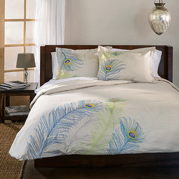 None - Peacock 3-piece Duvet Cover Set - Sleep under the beauty of peacock feathers from the comfort of your own bed. Made of 100-percent cotton,the peacock duvet cover set will fit easily into any decor and will last you for years to come.