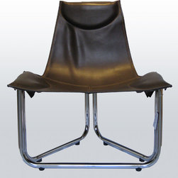 Trillón Chair - Unique, modern, comfortable, collapsible! Comes in many leathers or hides, chrome or black mat metal frame.  Current stock listed here.  Call for other options.