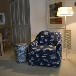 Furniture Reupholstery - This swivel chair was reupholstered in a indoor/outdoor shell motif fabric by Lee Jofa for a beach front condominium in Atlantic City, NJ.