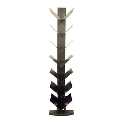 Proman - Hancock Tower Spine Shelf, 7 V-layers - Hancock Tower spine shelf, has 7 V-layers for books and decor items. Stand alone with stylish tilt design, Color; Rich Black, ship, in 2 boxes. Modern & sleek design with contempory and European style. Stand alone, never sag, tilt design with space saving function. 7-layer V shelving allows your books & magazines to be organized on display. Color: Rich Black.