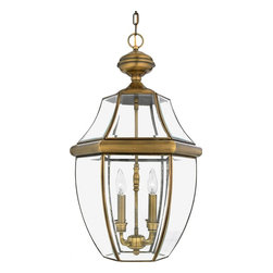 Quoizel - Quoizel 4 Light Newbury Outdoor Pendant in Antique Brass - NY1180A - When it comes to curb appeal, outdoor lighting plays a large part in creating a special ambiance. The classic design and beveled glass of the Newbury gives the outside of your home a rich elegance, without making it look over-embellished. It's a versatile look that coordinates with most any architectural style.