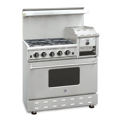 "36"" BlueStar RNB Heritage Classic Range - Stainless-Steel 36"" RNB Heritage Classic Range has 4 Top Burners with 12"" raised griddle/broiler"