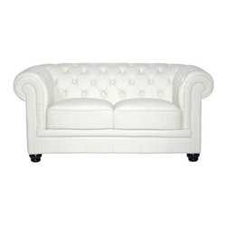 East End Imports - Chesterfield Loveseat in Leather & Leather Match White - There is something very recognizable about the Chesterfield Loveseat. While fashioned with a tufted back, and large rounded arms, the most distinctive aspect is arguably the deep buttons. Their careful positioning throughout helps portray both an aristocratic and settled feel at the same time. First named in 1900 after the Earl of Chesterfield who commissioned it, recognize the ability to join individual elements as you completely inspire your room.