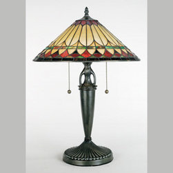 Quoizel - Quoizel TF6821VB Tiffany 2 Light Table Lamps in Vintage Bronze - This piece has has a handcrafted, genuine art glass shade in hues of cream, amber, crimson and emerald, which work together to create a harmonious palette. The base is finished in an authentic bronze patina.