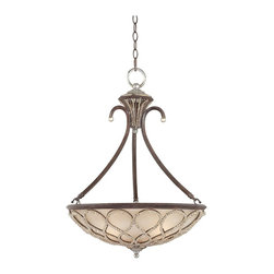 """Lamps Plus - Traditional Tuscan Elegance Collection 21"""" Wide Pendant Light - This ornate pendant chandelier from the Tuscan Elegance Collection captures the style of Italy's countryside. The curling frame comes in a rich century bronze finish. Beautiful antique etched glass creates a warm light. Cut bead detailing adds extra drama. A perfect choice for elegant traditional rooms. Century bronze finish. Antique etched glass. Cut bead accent. Takes three 60 watt bulbs (not included). 21"""" wide. 28 1/2"""" high. Includes 6 feet chain and 12 feet wire. Canopy is 6"""" wide. Hang weight is 25 lbs.  Century bronze finish.   Antique etched glass.   Cut bead accent.   Takes three 60 watt bulbs (not included).   21"""" wide.   28 1/2"""" high.  Includes 6 feet chain and 12 feet wire.   Canopy is 6"""" wide.   Hang weight is 25 lbs."""