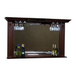 American Heritage - Napoli Back Bar Mirror w Stemware Holders - Stemware Holders. Display Shelf. 61 in. W x 10.5 in. D x 36 in. H
