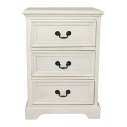 ecWorld - Urban Designs 3-Drawer Solid Wood Night Stand - Antiqued White - Inspired by late 18th-century French furnishings this nightstand captures the linearity, square shapes and painted finishes associated with that period. Crafted of solid hardwood, each piece is carefully distressed using a hand-applied multi-step process to achieve the look of a weathered antique.