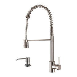 Ruvati - Ruvati RVF1210K1ST Commercial Style Pullout Spray Kitchen Faucet with Soap Dispe - This premium Ruvati kitchen faucet from the Cascada collection is constructed of solid brass giving it exceptional durability. The ceramic disc cartridge ensures drip-free functionality. The faucet can be installed into countertops up to two inches thick. Hot and cold water connection hoses are included.
