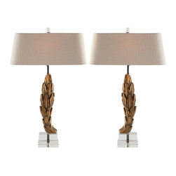 Kathy Kuo Home - Olympus Carved Antique Gold Laurel Leaves Lamp- Facing Pair - Gilded, carved laurel leaves give these charming lamps a sense of European sophistication fit for nobility.  Lamp height is adjustable.  Price marked is for the facing pair.