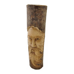 20 Inch Tree Man Face Carved in Oak Wall Decor - This awesome wall hanging is hand carved from oak and is wonderfully detailed. It features a bearded man's face, and has a natural finish with the bark still on for a rustic look. This piece measures approximately 20 inches tall, 5 1/2 inches wide, 2 1/2 inches deep and has a 2 inch long twisted rope hanger on back. It makes a fabulous gift for followers of nature religions.