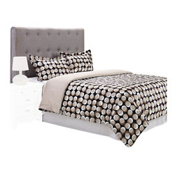 "300 Thread Count Cotton Monroe Duvet Cover Set - Full/Queen - The Monroe Duvet features an interesting design of brown and white circles on a black background. This duvet cover set is sure to please and add style and color to your bedroom. Set includes: (1) Duvet Cover 90x92"" and (2) Pillow Shams 20x26""."