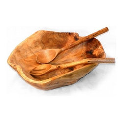 Enrico - Enrico Root Wood Extra Large Bowl with Root Servers - *Hand-selected for use as salad and serving bowls, Root Servers included *Each piece is hand-carved by skilled artisans, so no two are exactly alike. Knotholes and minor cracks add a unique charm. *Gorgeous wood grain and colors make these great for a wide variety of serving and decorative uses *Hand wash for best results - lacquer finish cleans up easily