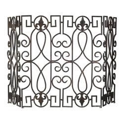 Cyan Design - Cyan Design Fireplace Wrought Iron Fire Screen - This Cyan Design fireplace screen features a beautiful traditional pattern with various European influences that can be clearly seen within the details. The curves and keys of the design are made from wrought iron and finished in a stylish Rustic Iron hue.