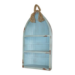 Cheung's - Wooden Wall Hanging Storage Shelf with Rope - Material: Wood and Rope. Color: Blue. 2 Shelves.  Rope Accent.  Self Standing. 16 in. L x 7 in. W x 34.25 in. H (7 lbs)