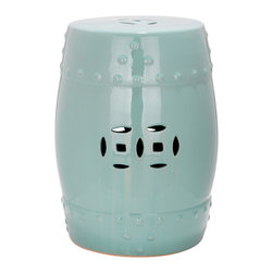 Safavieh - Light Aqua Modern Ming Garden Stool - The classic Ming Dynasty barrel shape and pierced design of the Modern Ming  Garden Stool is updated with crisp light aqua glaze on expertly crafted ceramic.  Perfect as a garden perch, side table or plant stand indoors or out, this timeless design complements every decorating style from traditional to contemporary.
