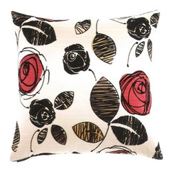 """Canaan - 24"""" x 24"""" Tory Ebony Rose and Leaf Pattern Throw Pillow - Tory ebony rose and leaf pattern throw pillow with a feather/down insert and zippered removable cover. These pillows feature a zippered removable 24"""" x 24"""" cover with a feather/down insert. Measures 24"""" x 24"""". These are custom made in the U.S.A and take 4-6 weeks lead time for production."""