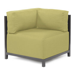 Howard Elliott - Sterling Willow Axis Corner Chair Slipcover - Ready to wear! Wouldn't it be fun to change your Axis Sectional on a whim? Now you can! with a Sterling Axis Cover, tailored construction and Velcro fasteners make it so that you would never know these pieces are slipcovered. This provides for easy cleaning and quick updating. Get a whole new look with the rich linen-like texture of the Sterling Axis Slipcover and its selection of bold, vibrant colors!!note Axis Slipcovers only fit Axis furniture. This Sterling Willow piece is 100% Polyester finished in a soft burlap texture in a willow green color. 30 in. x 17 in. x 30 in.