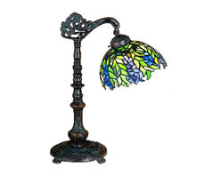 "Meyda - 19""H Tiffany Honey Locust Bridge Arm Desk Lamp - The honey locust was popular floral design created bylouis comfort tiffany, more than a century ago.decorative dome-shaped stained glass lampshades, withpetal shaped edges depict clusters of plum andperiwinkle flowers amid spring green leaves cascading towards the base. This one light wall sconce hascomplementary decorative hardware featuring ourmahogany bronze finish. Bulb type: cndl bulb quantity: 1 bulb wattage: 40"