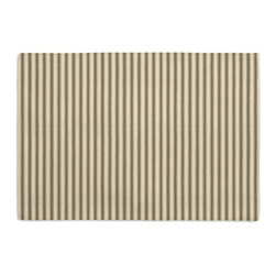 Taupe Ticking Stripe Custom Placemat Set - Is your table looking sad and lonely? Give it a boost with at set of Simple Placemats. Customizable in hundreds of fabrics, you're sure to find the perfect set for daily dining or that fancy shindig. We love it in this traditional taupe & ivory ticking stripe woven in super soft cotton.