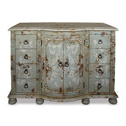 Bira Sideboard, Celeste Distressed with Amaryllis and Bone Scrolls - Bira Sideboard, Celeste Distressed with Amaryllis and Bone Scrolls