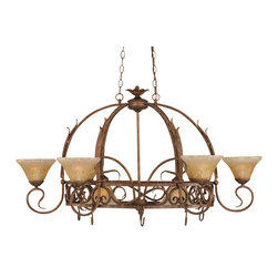 """Toltec - Toltec 216-BRZ-750 Bronze Finish 8-Light Pot Rack - Toltec 216-BRZ-750 Bronze Finish 8-Light Pot Rack with 8 Hook with 7"""" Amber Crystal Glass, Pots Not Included"""