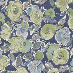 Blue, Green and White, Flower Pattern Contemporary Upholstery Fabric By The Yard - This contemporary upholstery jacquard fabric is great for all indoor uses. This material is uniquely designed and durable. If you want your furniture to be vibrant, this is the perfect fabric!