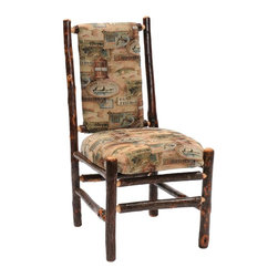 Fireside Lodge Furniture - Hickory Upholstered Log Side Chair (Cowhide) - Fabric: CowhideHickory Collection. All Hickory Logs are bark on and kiln dried to a specific moisture content. Clear coat catalyzed lacquer finish for extra durability. 2-Year limited warranty. 20 in. W x 23 in. D x 38 in. H (45 lbs.)