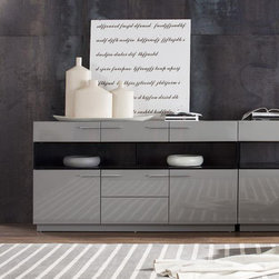 Modern Glossy Grey Buffet - With the plentiful storage for all your dining utensils, this modern Buffet by VIG Furniture will be not only fashionable accent, but also a practical piece of dining furniture. The buffet has sleek hardware that perfectly complements the rectangular shape of the buffet, and open compartments for a stylish displaying your accessories or easy access for your necessaries.