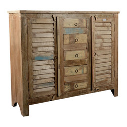 Sierra Living Concepts - 5 Drawer Reclaimed Wood Buffet - Keep things causal and organized with our 5 Drawer Reclaimed Wood Rustic Shutter Door Buffet. This hand crafted storage system has five center drawers and two 2-shelf side cabinets.