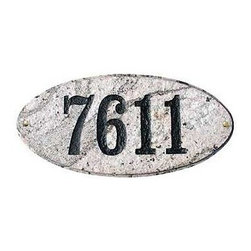 "Qualarc, Inc. - Solid Granite Address Plaque, Rockport Oval, Autumn Leaf Natural - Solid Granite Address Plaque in Autumn Leaf Natural Stone Color (Includes One line Engraved 4"" Numbers or text)"