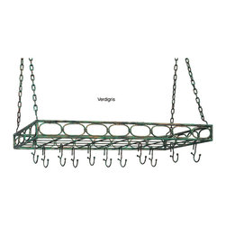 Old Dutch - Metal Rectangular 16-hook Pot Rack - These sturdy rectangular, hanging pot racks are available in a choice of three different finishes to tone with your kitchen or dining room decor. The racks feature 16 hanging hooks, offering a convenient way to store pots, pans, ladles and accessories.