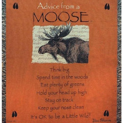 Manual - Advice From a Moose Tapestry Throw Blanket 50 Inch x 60 Inch - This multicolored woven tapestry throw blanket is a wonderful addition to your home or cabin. Made of cotton, the blanket measures 50 inches wide, 60 inches long, and has approximately 1 1/2 inches of fringe around the border. The blanket features a print of a North American Moose, and the legend 'Advice From A Moose; Think big. Spend time in the woods. Eat plenty of greens. Hold your head up high. Stay on track. Keep your nose clean. It's OK to be a Little Wild' Care instructions are to machine wash in cold water on a delicate cycle, tumble dry on low heat, wash with dark colors separately, and do not bleach. This comfy blanket makes a great housewarming gift that is sure to be loved.