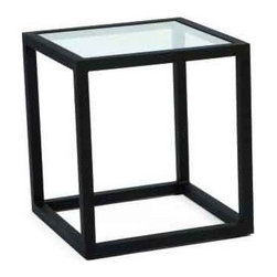 Woodard Salona End Table - Our Salona end table by Joe Ruggiero and Woodard is shown in a Midnight Finish.Glass Top End Table