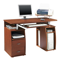 Techni Mobili - Techni Mobili Atea Wood Computer Workstation in Mahogany - Techni Mobili - Computer Desks - RTA8211M615 - Spacious and stylish the Techni Mobili Atea Computer Workstation in Espresso allows you to work in comfort. Everything has a place to be put away with extra storage space from the open construction.