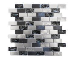 Eden Mosaic Tile - Stainless Steel and Crackled Glass Mosaic Mix, Sample - This metal tile is comprised of stainless steel bricks in silver and dark pewter colors in addition to black glass that has a crackled effect. The surface of the glass is not sharp it has been manufactured to contain the cracked glass inside an outer glass shell. There are two types of brush patterns on the stainless steel the first being a straight snow matte linear brush pattern and the second being a circular brushed pattern. The different steel brush patterns appear to give the stainless steel a different color because of the way the light reflects off the tile when in fact both are a regular stainless steel color. The result is a visually stunning array of colors and textures which will surely make your wall pop. Use this steel and glass mixed mosaic on kitchen backsplashes bathroom walls fireplaces and even accent walls. The tiles in this sheet are mounted on a nylon mesh which allows for an easy installation. Imported.