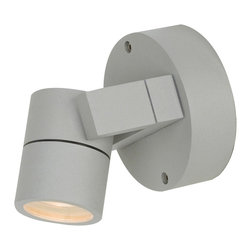Access - KO Outdoor Adjustable Spotlight - KO Outdoor Adjustable Spotlight features a clear glass diffuser with finish in Satin or Bronze. Also available as a 1 and 2 light option. One 35 watt, 120 volt, MR16 GU10 base halogen lamp included. Directional light distribution. Dimensions: 4 inch width X 5 inch depth.  This item is not Marine Grade.