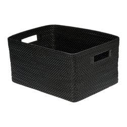 Kouboo - Rectangular Rattan Storage Basket, Black - 17.25 inches long x 12.75 inches wide x 9.25 inches high