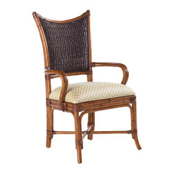Lexington - Lexington Island Estate Mangrove Arm Chair Set of 2 531-881-01 - Embrace island dining with the natural influence of woven back styling in the beautiful Plantation finish. The upholstered seat is standard in Macadamia, a basket weave pattern in a golden sand coloration.
